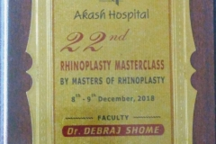 Dr. Debraj Shome was privileged to be invited as a Faculty & speak on 'Advances in Facial Plastic Surgery' at the globally acclaimed & renowned 22nd 'Rhinoplasty Masterclass', organised at Indore on 9th December