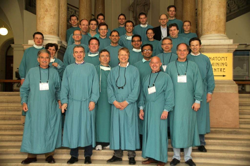 With colleagues at the cadaver dissection course, Wien, April 2015.